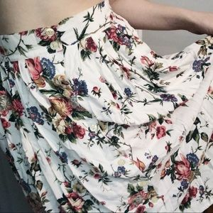 Vtg Floral High Waist Button Down Midi/Full Skirt